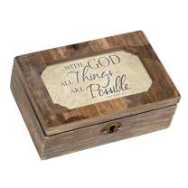 Cottage Garden God All Things Possible Deco Woodgrain Jewelry Music Box Plays How Great Thou Art