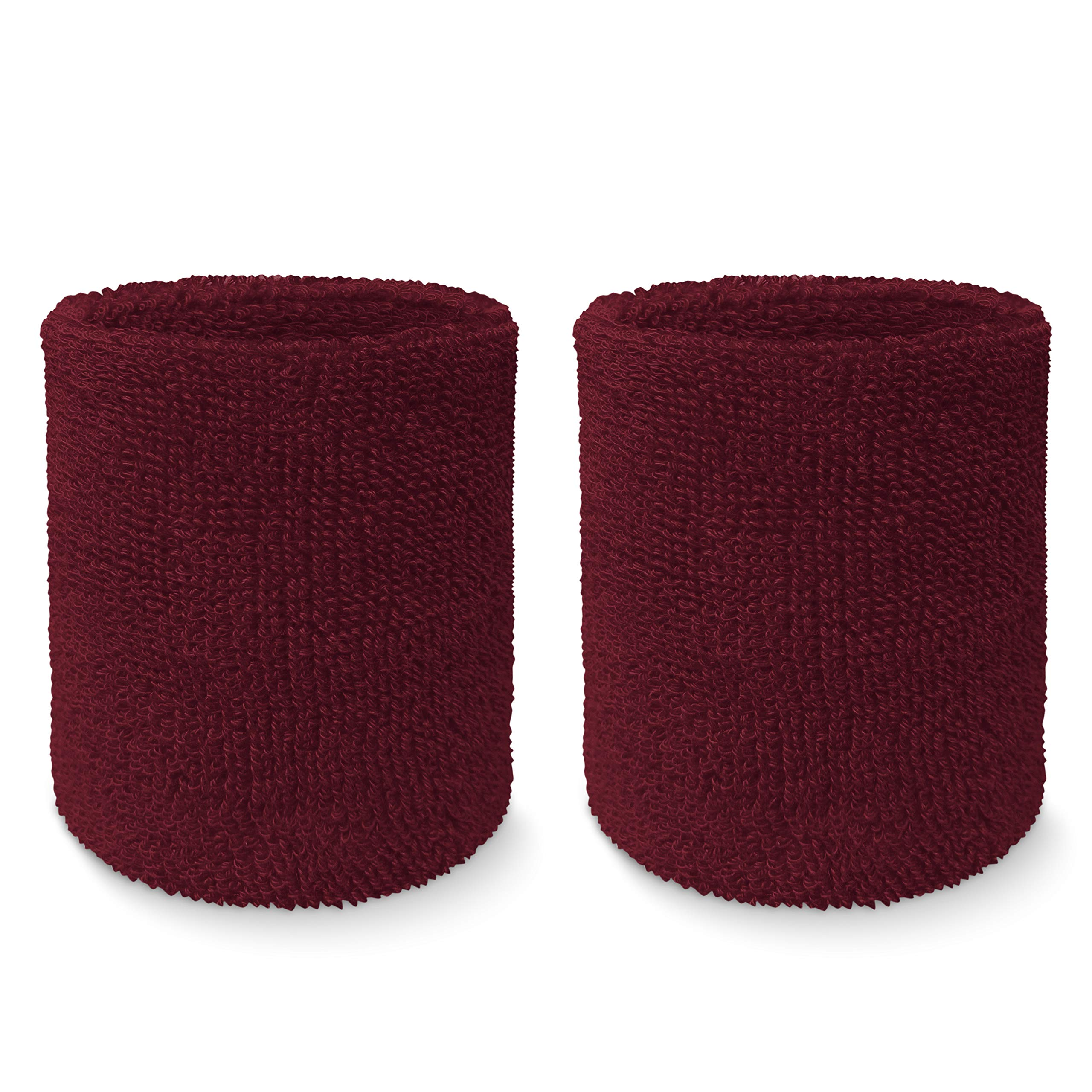 """COUVER Premium Quality 4"""" Tall Wrist Sweatband - Plain Solid Color Soft Cotton Terry Cloth Sport Wristband (1Pair)"""