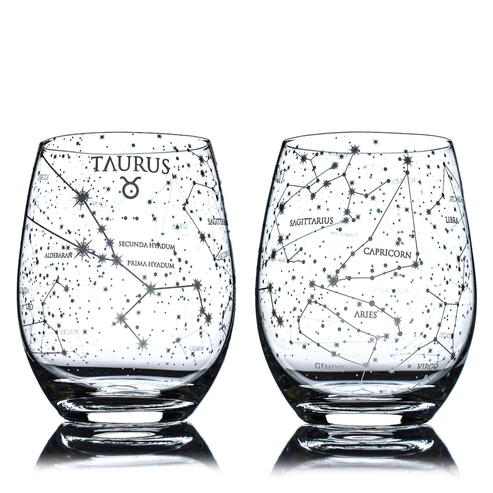 Greenline Goods Aries Stemless Wine Glasses Set of 2 Hand Etched 15 oz - Astrology Sign Glassware Zodiac Aries Set