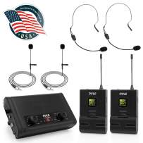 Compact UHF Wireless Microphone System - Pro Portable Dual Channel Desktop Digital Mic Receiver Set w/ 2 Belt-Pack Transmitter, Receiver, 2 Headset Lavalier Mics, Battery, For Home PA - Pyle PDWM2880B
