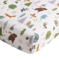 Levtex Baby Play Day Teal Fitted Sheet 100% Cotton, Navy/Green/Grey/Brown/White