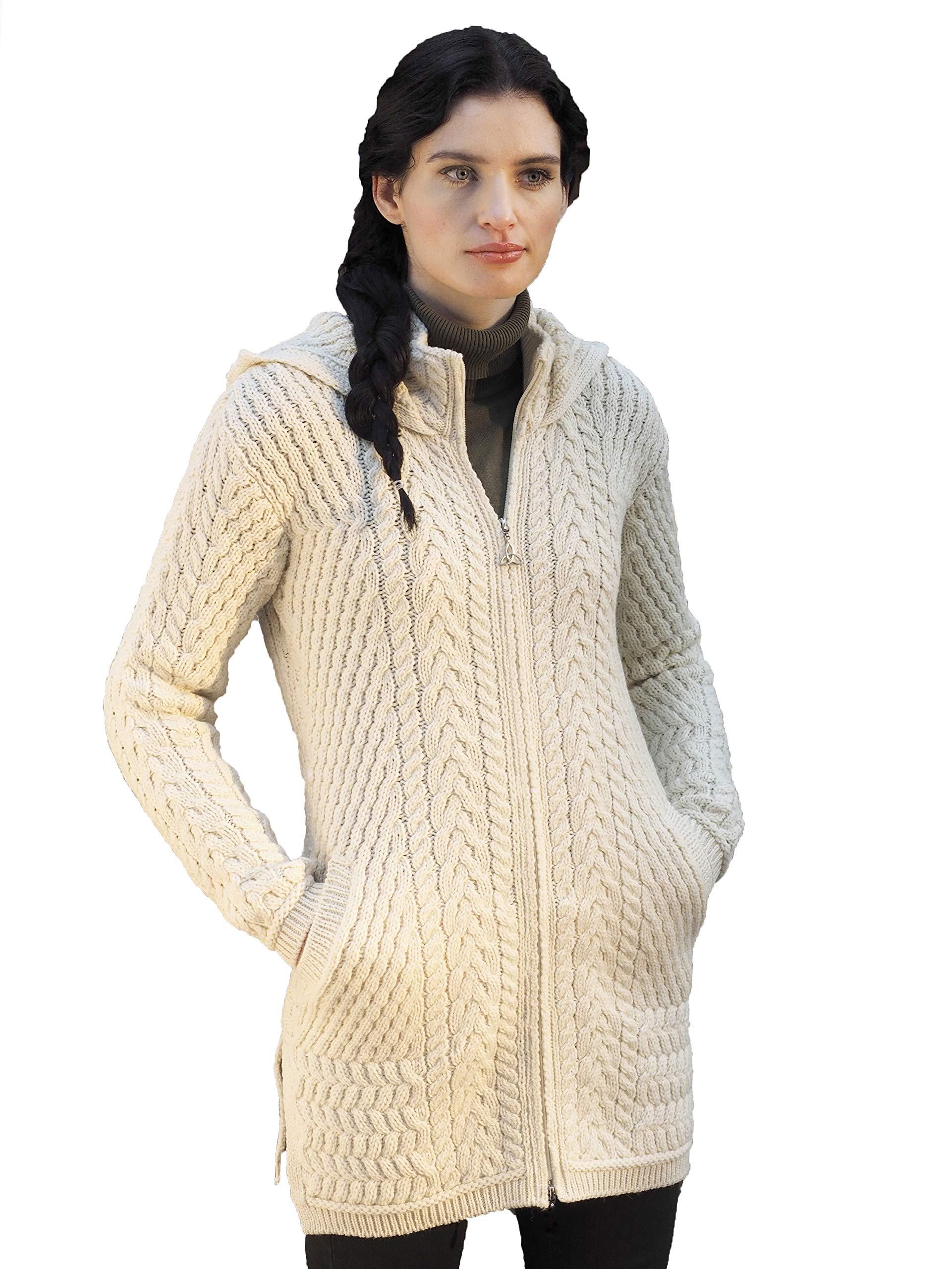 100% Merino Wool Aran Knit Ribbed Coat with Hood, Natural Colour