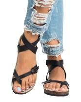 Mafulus Womens Thong Flat Sandals Buckle Strap Comfort Summer Gladiator Slides Shoes