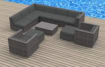 UrbanFurnishing.net 11b-aruba3-charcoal 11 Piece Modern Patio Furniture Sofa Sectional Couch Set