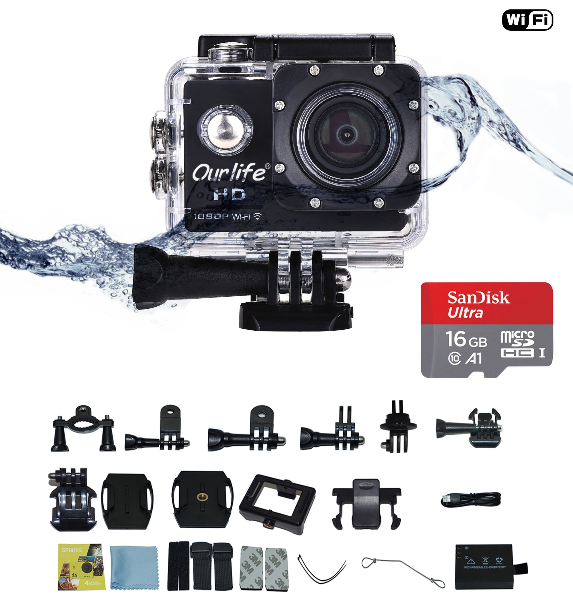 Ourlife Action Video Camera 1080P WIFI Sports Camera IP68 Waterproof DV Camcorder 12MP 170° Wide Angle 2 Inch Screen with Mounting Kit