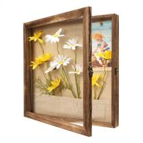 Emfogo 13x13 Shadow Box Picture Frame with Linen Back Front Glass Door and Pocket, Rustic Wood Shadow Display Case of Keepsakes, Baby, Wedding, Memory Box for Wall and Tabletop (Carbonized Black)