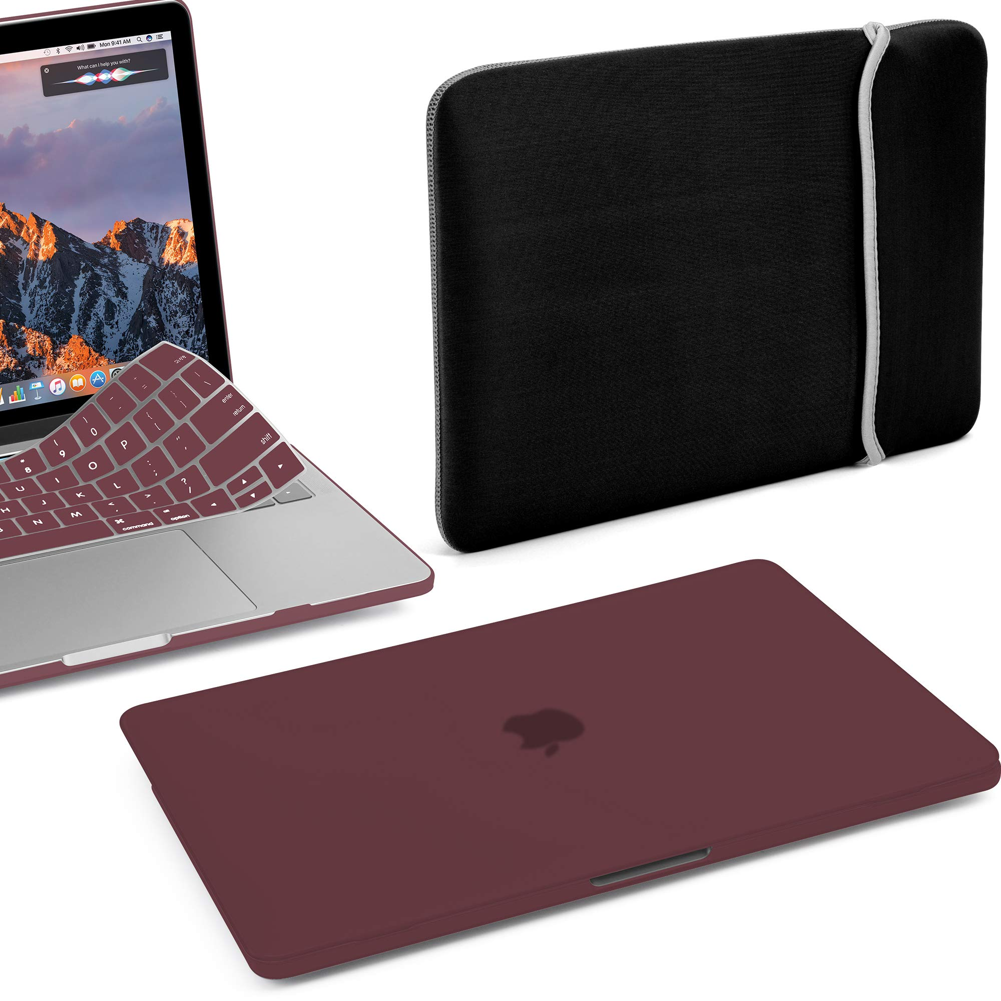 GMYLE MacBook Pro 13 Inch Case 2018 2017 2016 A1989 A1708 A1706 New Touch Bar 3 in 1 Bundle, Plastic Hard Shell, Water Repellent Lycra Sleeve Bag Travel, Keyboard Cover Set - Burgundy Red