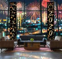 LUCKKYY Happy New Year 2020 Porch Sign - 2020 Happy New Year Hanging Banner Set for Outdoor/Indoor Home Front Door New Year Holiday Party Decoration (Gold)