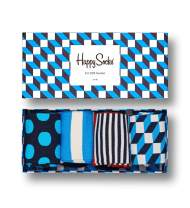 Happy Socks, Assorted Colorful Premium Cotton Sock 4 Pair Gift Box for Men and Women, Filled Optic Gift Box (9-11)