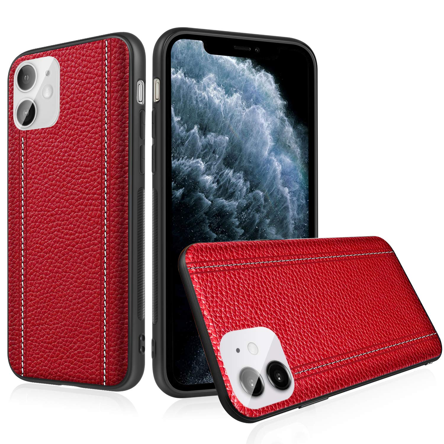iPhone 11 Pro Max Leather Case Cover - Thin Luxury Premium Genuine Leather No-PU Soft Flexible Bumper Non-Wallet Anti-Slip Scratch Protective Business iPhone 11 6.5'' Cover Work with Wireless Charging