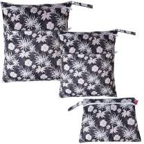 Damero 3Pcs Wet Dry Bag for Cloth Diaper, Swimsuit, Clothes, Ideal for Travel, Exercise, Daycare, Roomy and Water-Resistant(Coffee Flowers)
