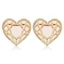 Kooljewelry 14k Yellow Gold Rose Gold Heart Stud Earrings