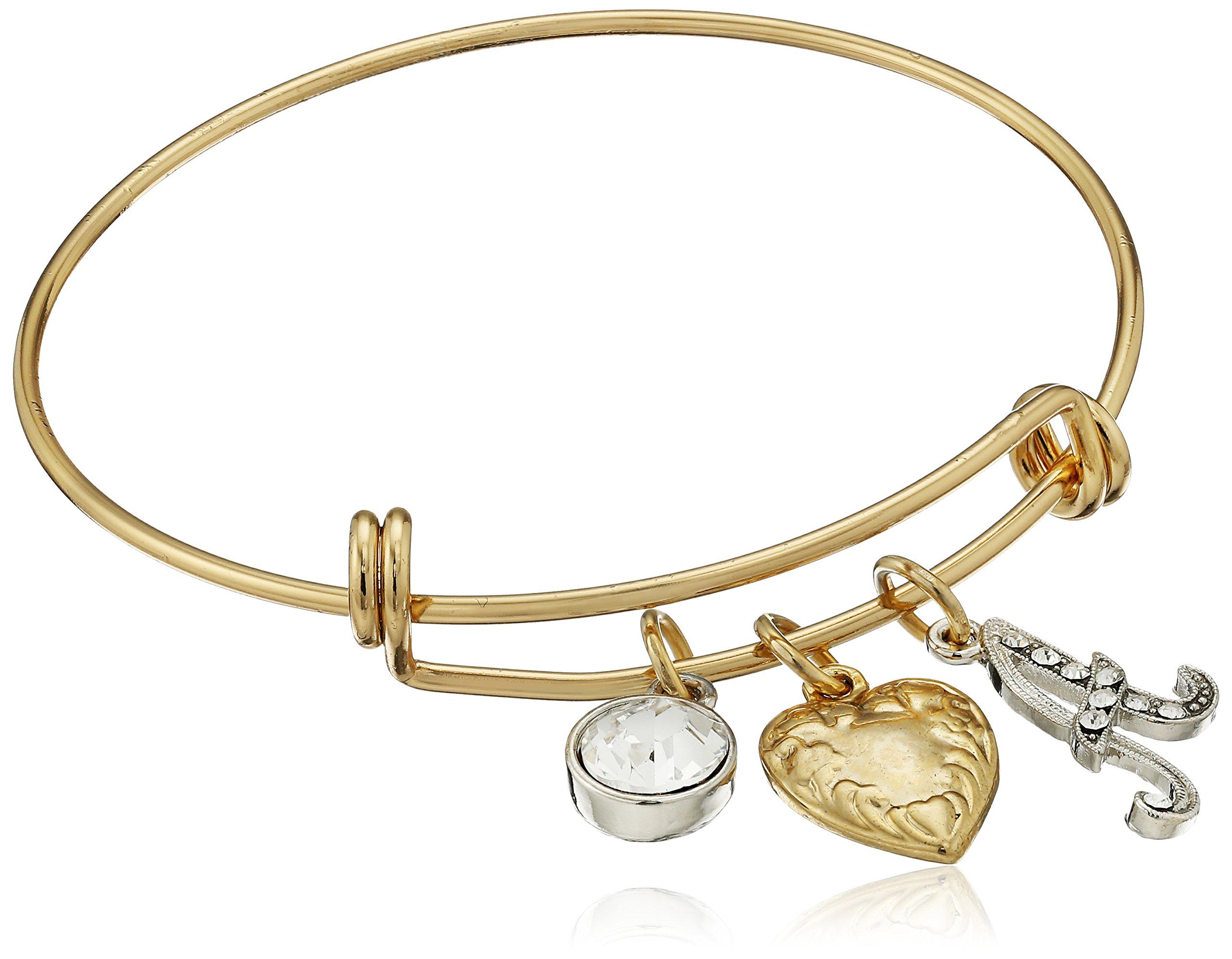 1928 Jewelry 14k Gold Dipped Heart Initial Crystal Charm Bracelet, 2.5""