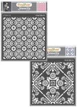 CrafTreat Flower Tile Stencil for Painting on Wood, Canvas, Paper, Fabric, Floor, Wall and Tile - Tile Flowers Small and Floral Tile - 2 Pcs - 6x6 Inches Each - Reusable DIY Art and Craft Stencils