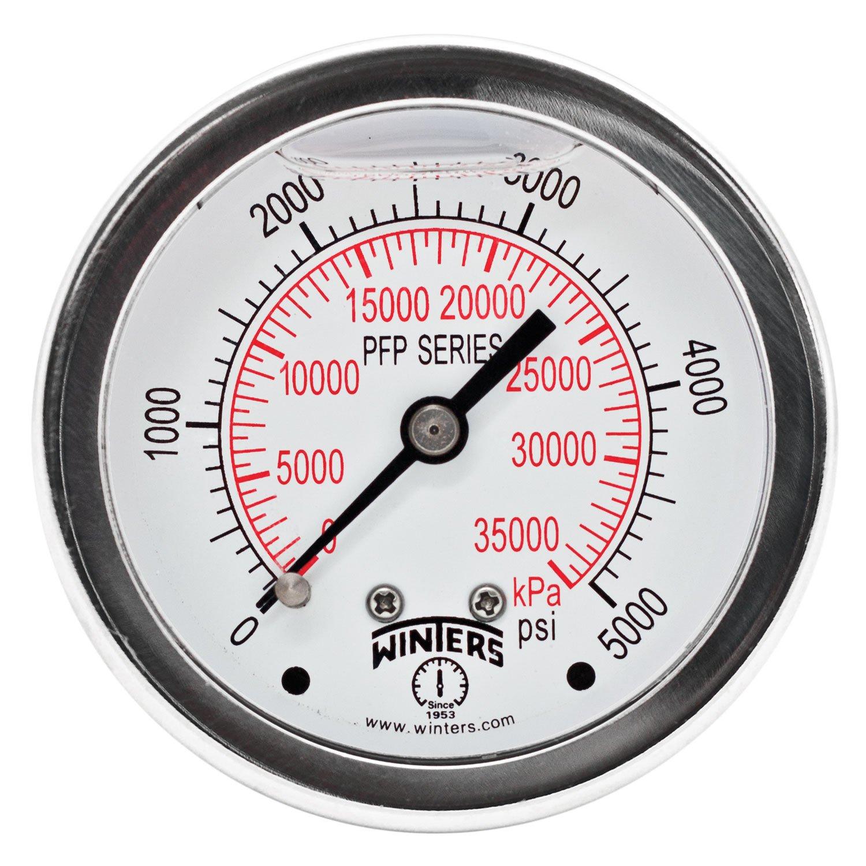"""Winters PFP Series Premium Stainless Steel 304 Dual Scale Liquid Filled Pressure Gauge, 0-5000 psi/kpa, 2-1/2"""" Dial Display, +/-1.5% Accuracy, 1/4"""" NPT Back Mount"""