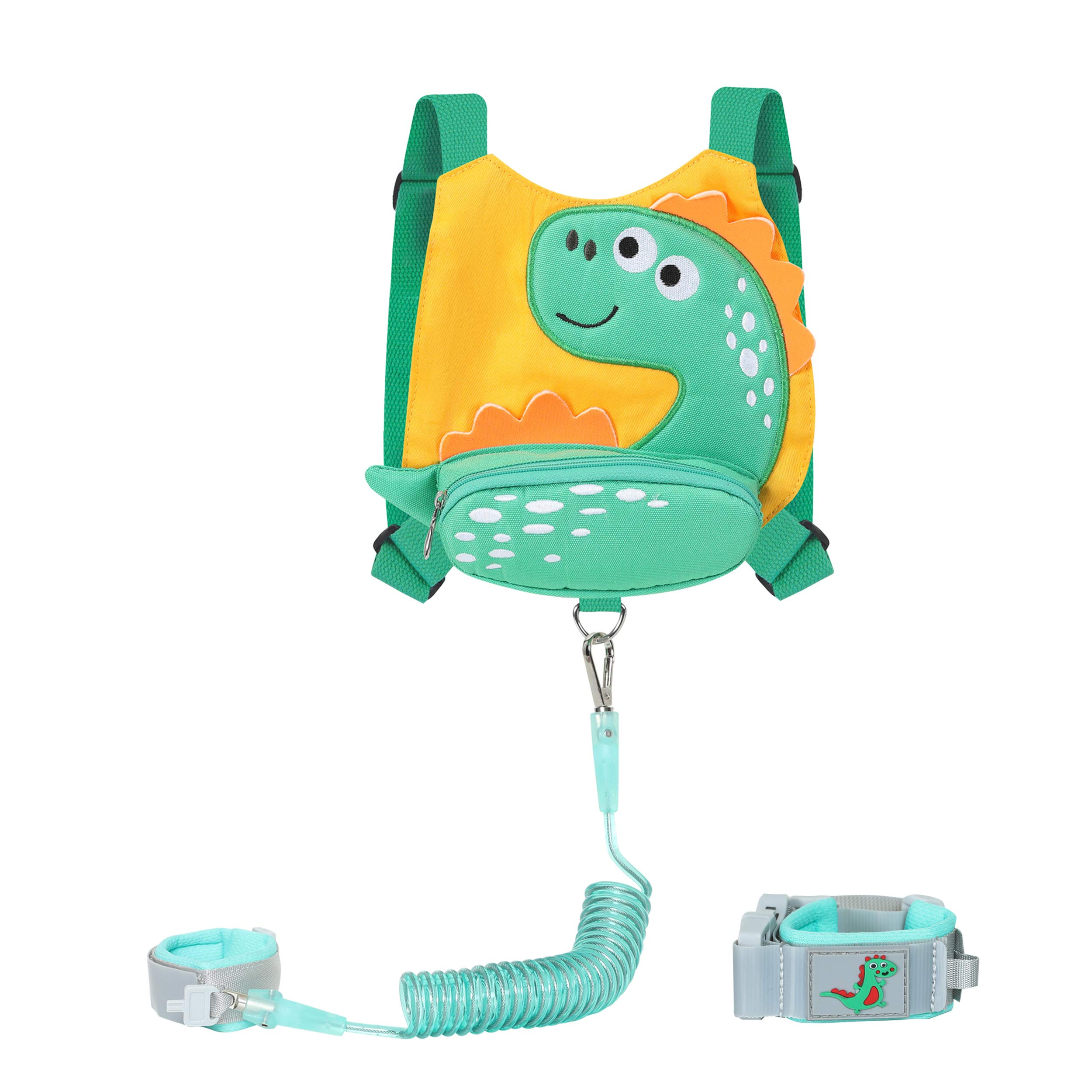 Baby Toddlers Cute Dinosaur Harness with Wrist Leash for Kid Walking Safety 1.5 to 3 Years (Little Dinosaur Yellow)