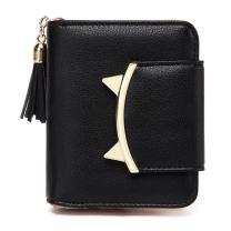 Women Cute Cat Mini Wallets Design Coin Purse Leather Tassel Wallet