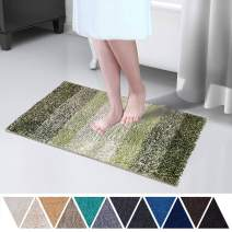 DEARTOWN Non-Slip Shaggy Bathroom Rug,Soft Microfibers Bath Mat with Water Absorbent, Machine Washable(Multicolor-Green,20x32 Inches)