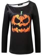 SSLR Women's Fun Printed Off Shoulder Long Sleeve Halloween Sweatshirt