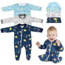 Lictin Baby Footed Pajamas (0-3M) with Anti-Slip Rubber Footies - 100% Cotton 3pc Baby Long-Sleeved Romper Zipper Pajamas with 3pc Hat White/Blue/Navy