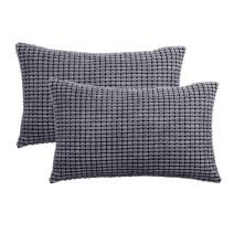 """Set of 2,Decorative Lumbar Throw Pillow Covers 12""""x20"""" (No Insert),Solid Cozy Corduroy Corn Bloster Pillow Case Shams,Soft Rectangle Cushion Covers with Zipper for Couch/Sofa/Bedroom,Dark Gray"""
