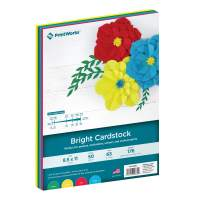 """Printworks Bright Cardstock, 65 lb, 4 Assorted Bright Colors, FSC Certified, Perfect for School and Craft Projects, 50 Sheets, 8.5"""" x 11"""" (00682)"""