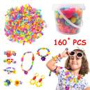 MALOMME Pop Beads, 160+ Pcs Kids Jewelry Making Kit Girls DIY Snap Pop Beads Toys for Kids Toddlers Art & Craft Kits Pop Arty Friendship Bracelets Necklaces Rings Toy Gift for Age 3 4 5 6 7 8 9 Years