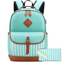 Canvas Backpack Womens Laptop Backpack with USB Charging Port Fits 15.6 inch Laptop
