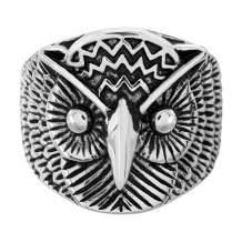 Steve Madden Oxidized Stainless Steel Owl Ring for Men