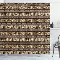 """Ambesonne Afirca Shower Curtain, Horizontal Stripes with Leopard Skin Pattern Indigenous Culture Inspiration, Cloth Fabric Bathroom Decor Set with Hooks, 70"""" Long, Black Cream"""