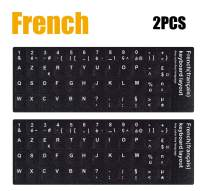 [2PCS Pack] French Keyboard Stickers,Matte Vinyl Keyboard Sticker with White Letters Non-Transparent for PC Computer Laptop Notebook Desktop Keyboards (French)