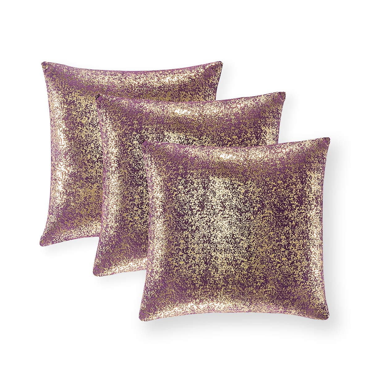 Set of 3, Throw Pillow Covers, Cushion Cases, Decorative Square Pillow Case, Slipover Pillowslip for Home Sofa Couch Chair Back Seat Bedroom Car, Invisible Zipper, 18 x18In (Bronzing- Lavender Purple)