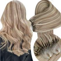 Sunny Remy Micro Ring Hair Extensions Human Hair Micro Loop Dark Ash Blonde and Bleach Blonde Human Hair Extensions Micro Bead Hair Extensions 1g/s 50g/pack 18inch