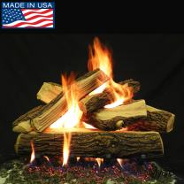 """PayandPack Myard Deluxe 24"""" inches Country Split Fire Gas Logs (LOGS ONLY) for Natural Gas/Liquid Propane Vented Fireplace"""