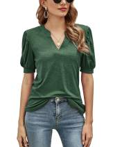Romanstii Women Casual V-neck T-Shirts Loose Puff Short-Sleeve Tops Tunic Blouse
