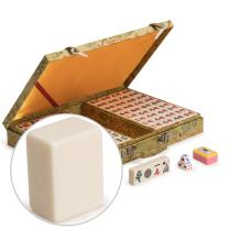 Yellow Mountain Imports Chinese Mahjong Set, Ivory Colored Small Tiles with Wooden Case - for Chinese Style Gameplay Only