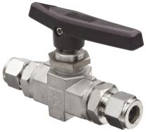 """Parker B Series Stainless Steel 316 Ball Valve, Inline, 3/8"""" A-Lok Compression Fitting"""