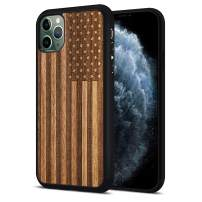 JuBeCo iPhone 11 Pro Max Case Wood, Natural Slim Eleghant Wooden Protective Cover with Flexible Rubber Bumper for iPhone 11 Pro Max6.5-inch (US Flag)