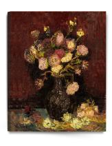 DECORARTS - Vase with Asters and Phlox 1886, Vincent Van Gogh Art Reproduction. Giclee Canvas Prints Wall Art for Home Decor 30x24