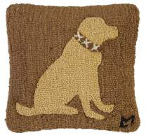 "Chandler 4 Corners Artist-Designed Yellow Lab Hand-Hooked Wool Decorative Throw Pillow (14"" x 14"")"