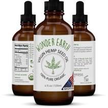 Wonder Earth Hemp Seed Oil - 100% Premium USDA Certified Organic, Virgin, Cold Pressed, Unrefined - 4oz - Body, Hair and Face Moisturizer