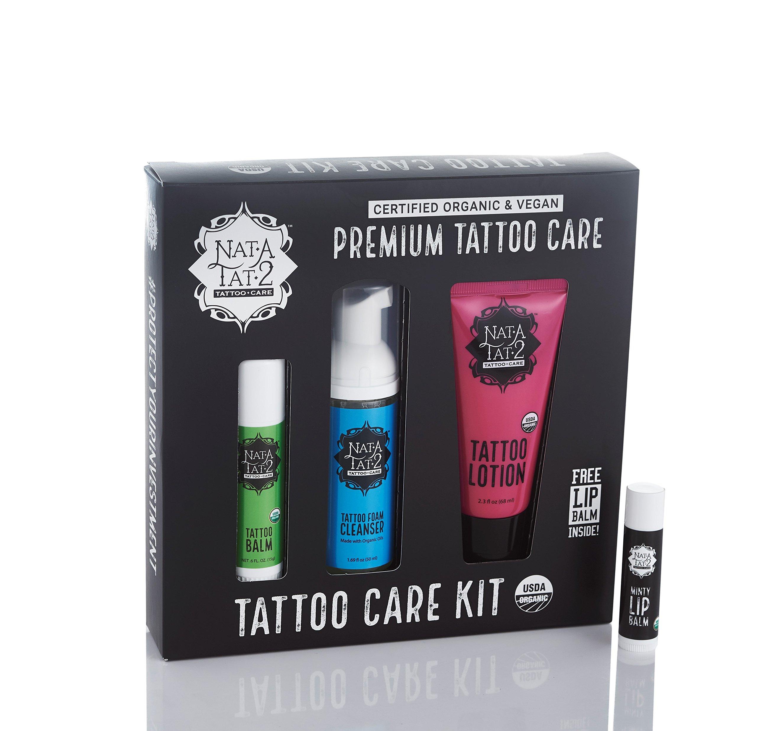 Nat-A-Tat2 Premium Vegan and Organic-Certified Tattoo Aftercare Kit for Optimal Tattoo Healing (4-Piece)