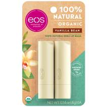 eos Natural & Organic Stick Lip Balm -  Vanilla Bean  | Certified Organic & 100% Natural | Deeply Hydrates and Seals in Moisture | 0.14 oz | 2-Pack (Packaging May Vary)