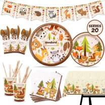 Woodland Animal Party Tableware Supplies Set Including Banner, Plates, Cups, Table Cover and Napkins Serves 20 Guests for Woodland Forest Friends Theme Party Baby Shower Birthday Decorations