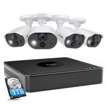 ZOSI C303 Security Cameras System with Audio,H.265+ 8CH 5MP Lite CCTV DVR with Hard Drive 1TB,4pcs 1080P Outdoor Cameras,120ft Night Vision,PIR Motion Deteciton,Motion Activated Light & Siren Alarm