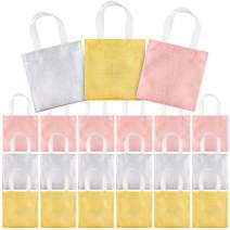 Whaline 8''x8'' Non-Woven Small Party Bags, 24 Pieces Gift Bags, Reusable Candy Goodie Bags, Glossy Tote Bags, DIY Craft Bags for Hoilday Event, Birthday(Rose Gold, Golden, Silver)