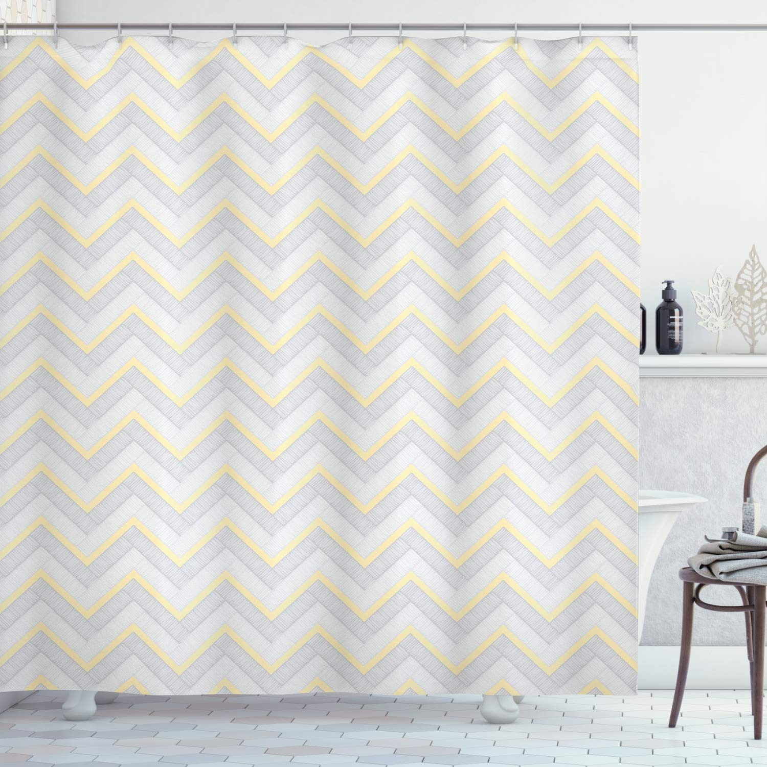 """Ambesonne Grey Shower Curtain, Vintage Chevron Pattern with Pale Pastel Colors Zig-zag Inverted V-Shaped Image, Cloth Fabric Bathroom Decor Set with Hooks, 84"""" Long Extra, Yellow Grey"""