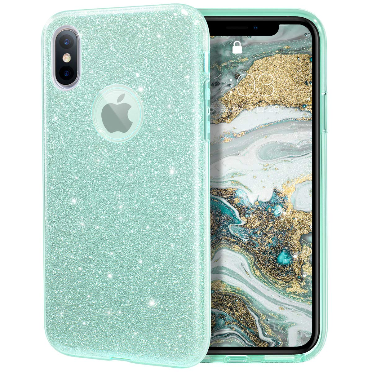 """MILPROX Glitter case for iPhone Xs iPhone X 5.8"""", Shiny Sparkle Bling, 3 Layer Hybrid Protective Soft Case - (Green Mint)"""