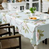 "Hewaba Rectangle Printed Tablecloth - (60"" x 84"") Polyester Fabric Washable Table Cover, Seats 6-8 People, Wrinkle Free, Oil-Proof/Waterproof Tabletop Protector for Kitchen Dinning Party - Rose Flower"