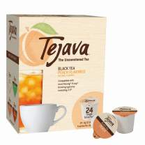 Tejava Unsweetened Black Tea Pods with Natural Peach Flavor, Award-Winning Tea, 100% Recyclable Single Serve Cups   Keurig K-Cup Compatible (24 Count)